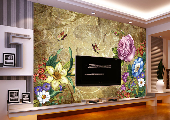 3d欧式背景墙立体壁画