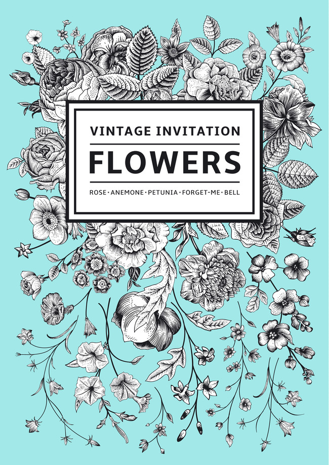手绘韩式时尚花卉图案背景