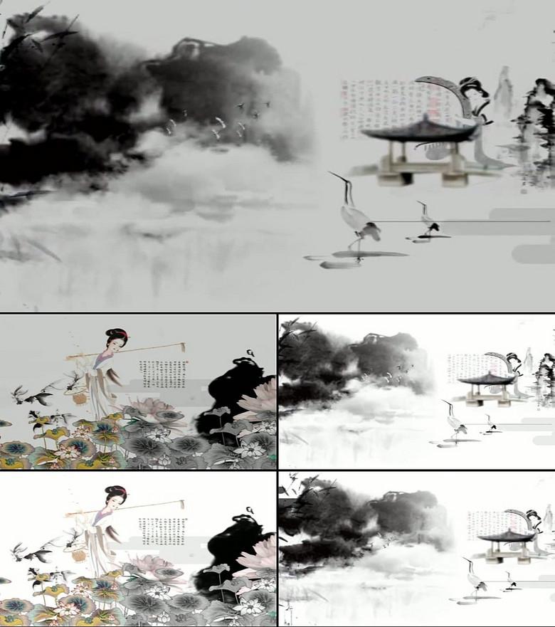 山水国画民族风水墨丹青古典LED图片