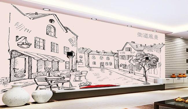 背景墙 壁画 手绘壁画 > 手绘街道风景  素材图片参数: 编号