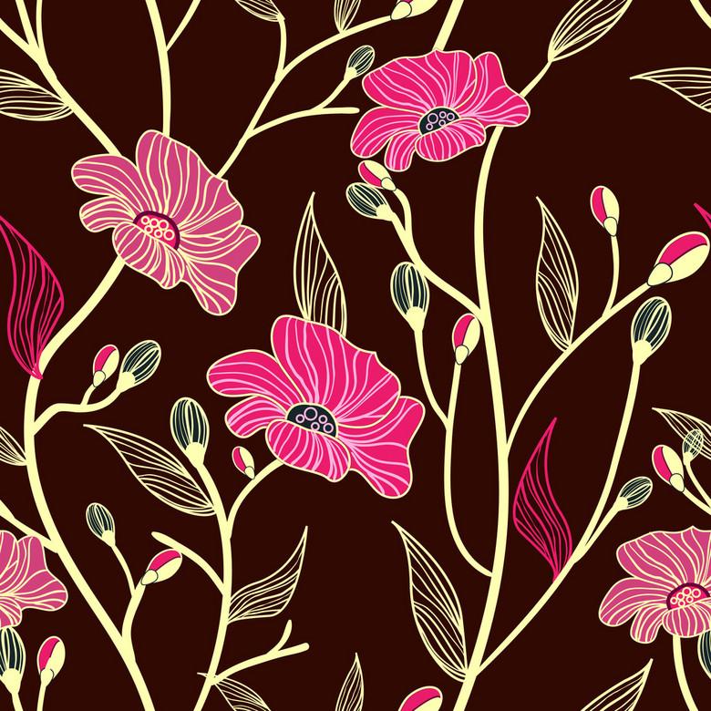 时尚韩版手绘花卉图案设计