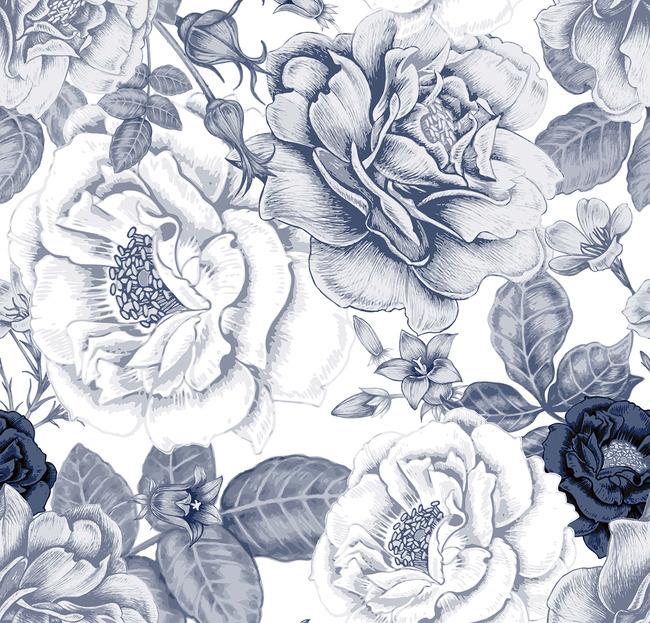 手绘涂鸦风格花卉图案