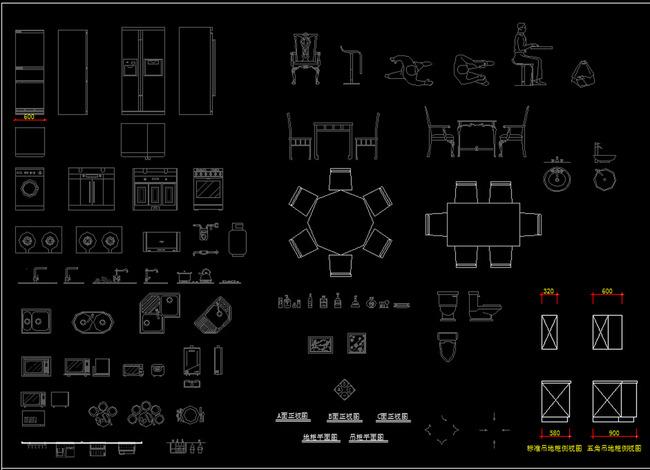 cad图库 室内设计cad图库 cad图纸 > 橱柜常用图库cad模型  版权图片