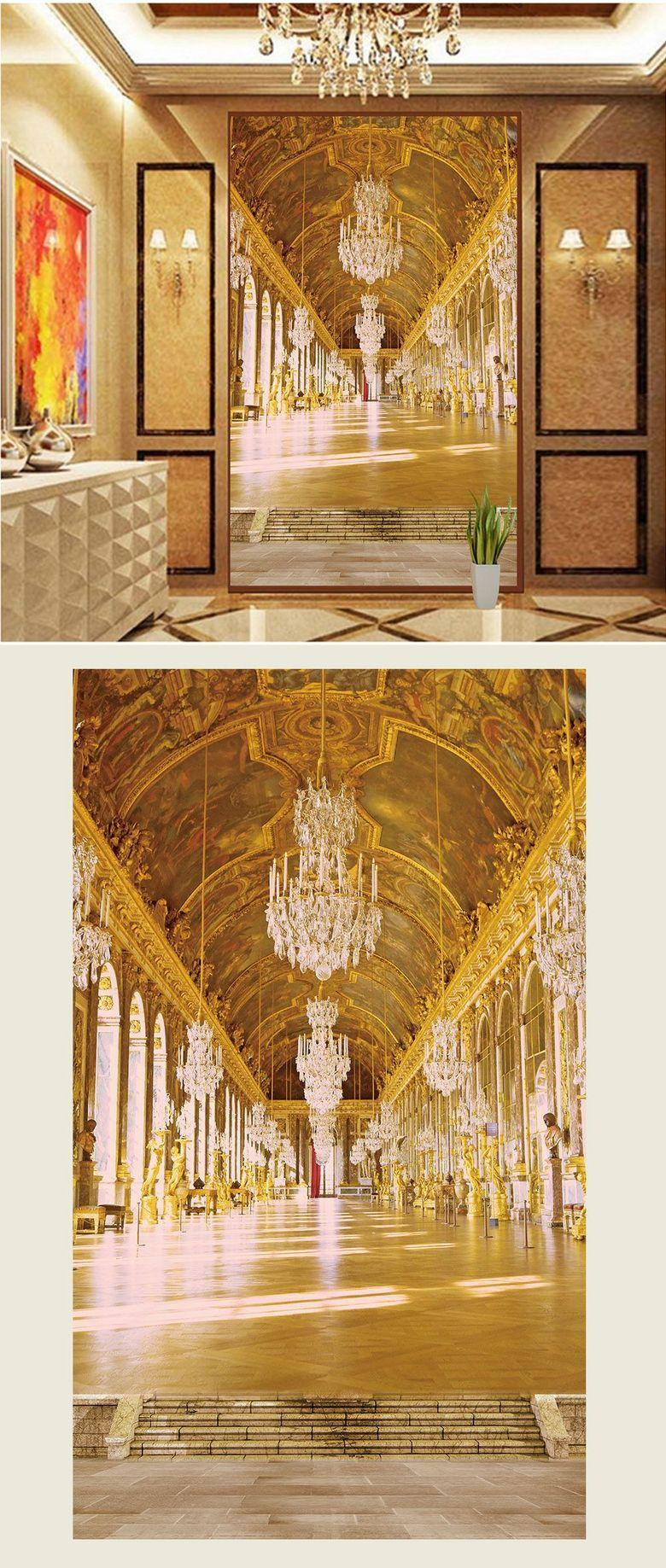 欧式建筑玄关背景装饰画室内装饰玄关壁画
