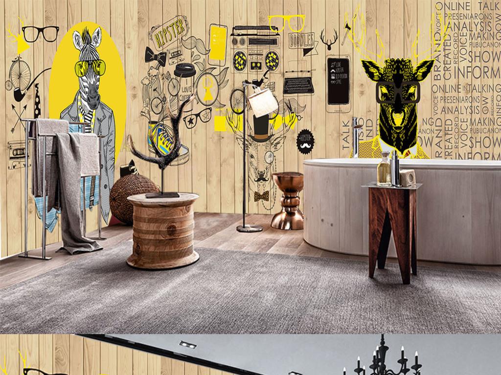 工装壁画壁纸现代3d立体欧美木板墙壁