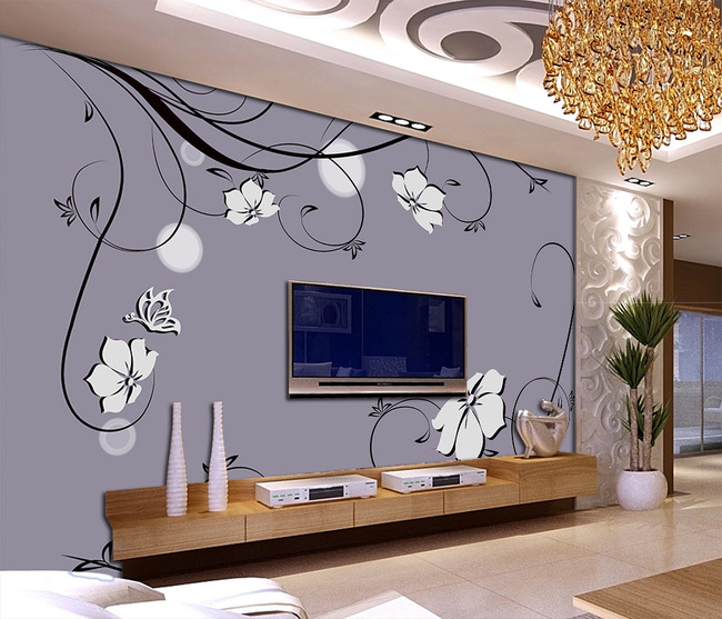 手绘简约白色花朵蝴蝶电视背景墙
