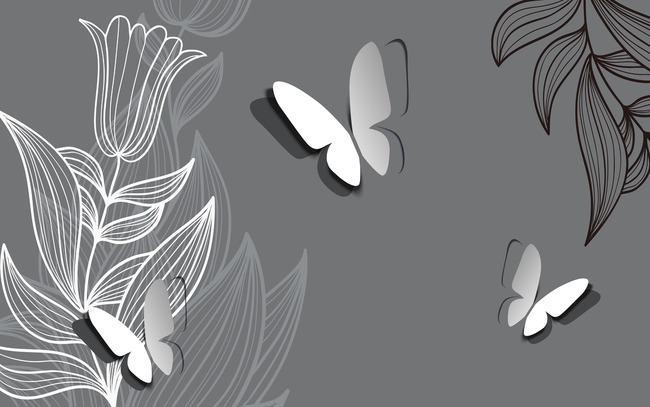 手绘立体蝴蝶线条抽象花卉简约背景墙