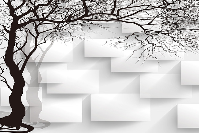 背景墙|装饰画 电视背景墙 欧式电视背景墙 > 手绘黑白3d抽象树方块