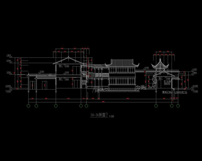 建筑文化建筑餐饮娱乐建筑中国古建立面图世博会场馆仿古建筑cad图纸