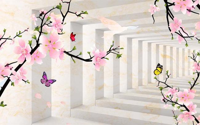 3d立体梅花蝴蝶电视背景墙