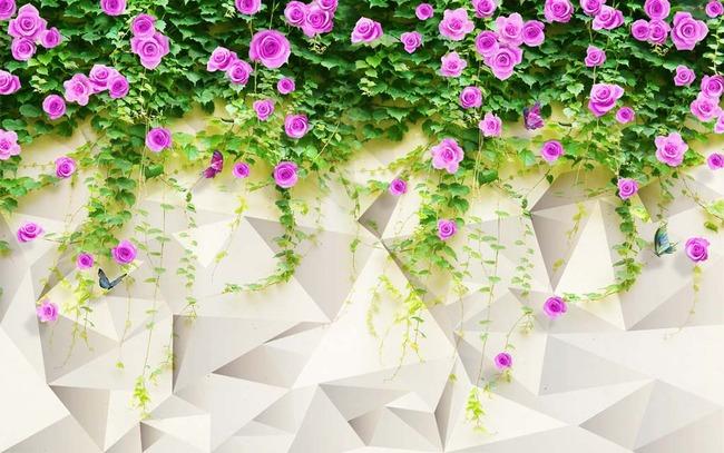蔷薇花电视背景墙