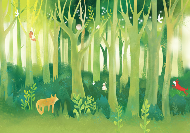 手绘大型森林背景墙绿草