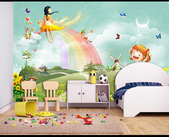 儿童房唯美卡通背景墙小孩房床头背景图片设计素材_(.图片