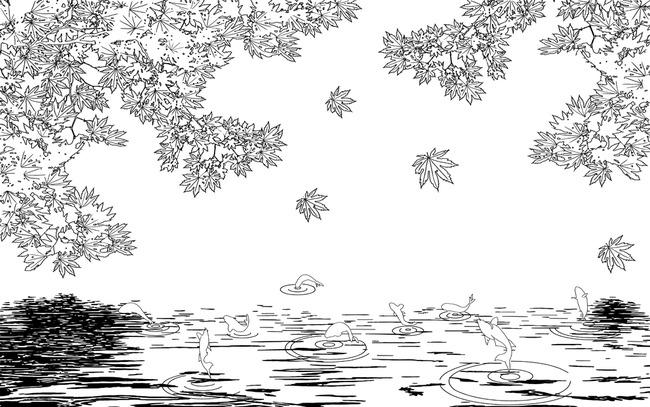3d立体枫叶九鱼图红叶电视背景墙图片