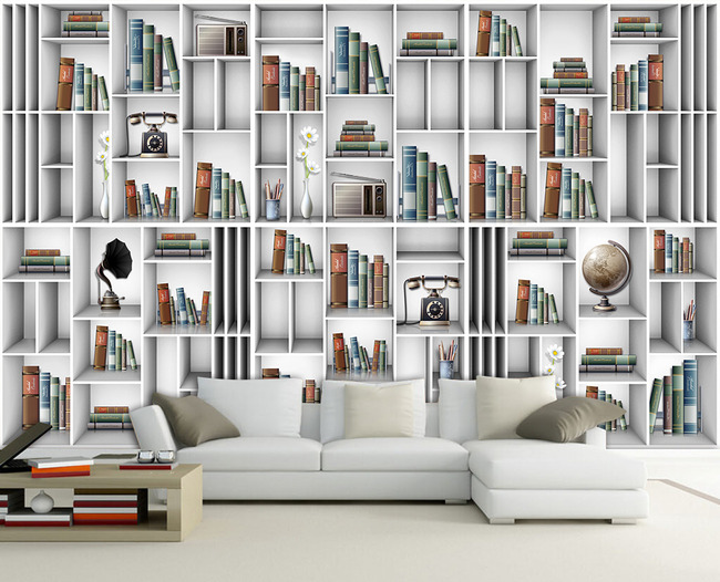 立体书架壁画电视背景墙