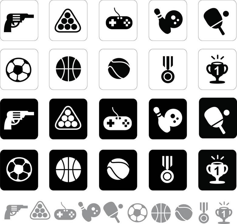 黑白游戏图标设计图片下载ai素材 居家生活图标
