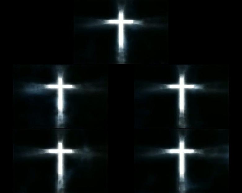 基督教耶稣发光十字架高清视频素材