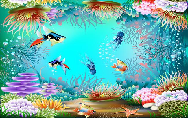 3d海底世界海洋馆吊顶壁画