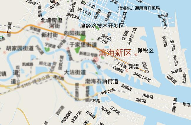 天津滨海新区街道公路地图