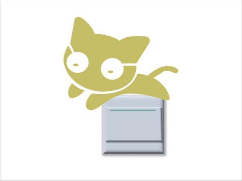 卡通奔跑的小猫硅藻泥开关矢量图下载