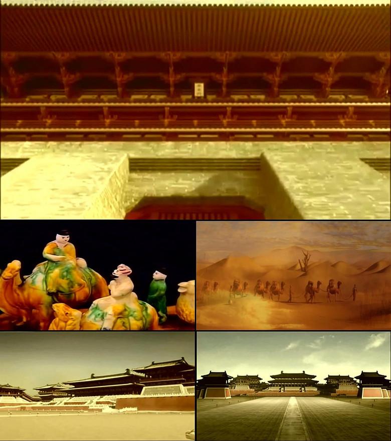 中国古代唐朝宫殿丝绸之路唐三彩视频