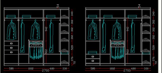 常用标准尺寸衣柜内部结构图集