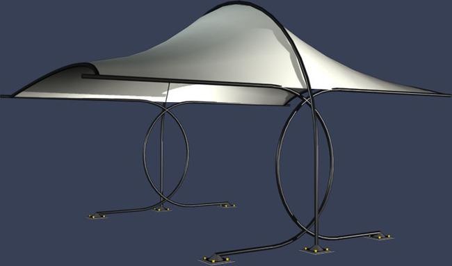 现代创意设计亭子模型