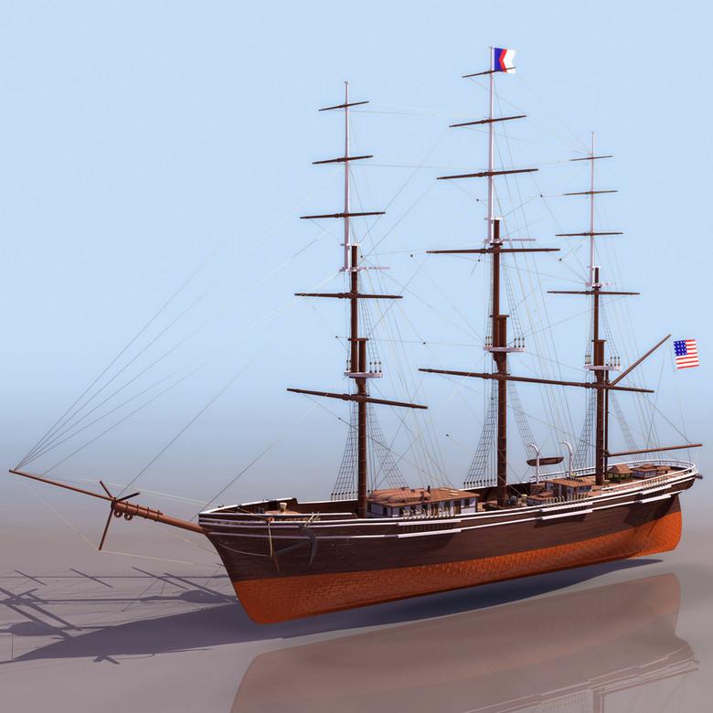 木质小帆船3DS模型设计图下载 图片2.80MB 其他模型库 其它模型图片