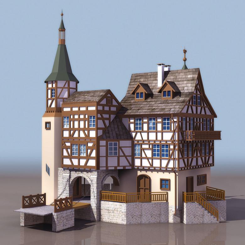 欧式古堡建筑3DS模型图片下载3ds素材 其他模型