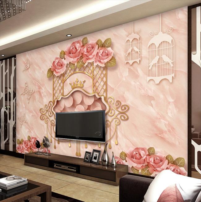 简欧高档大理石电视沙发背景墙壁画图片
