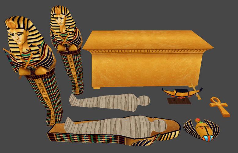 古埃及木乃伊法老王像棺材图片