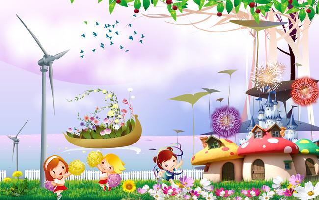温馨儿童房卡通床头背景墙壁画蘑菇房