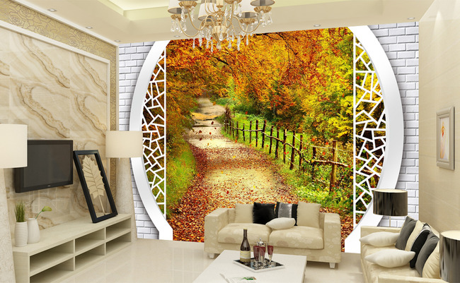 田园风光3d风景背景墙壁画
