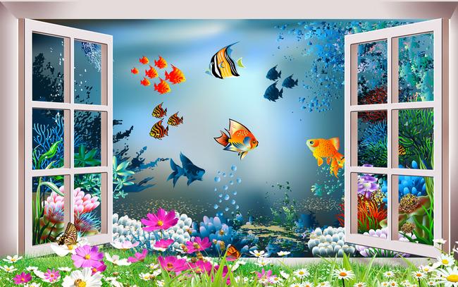 3d海底世界海洋馆窗外风景背景墙