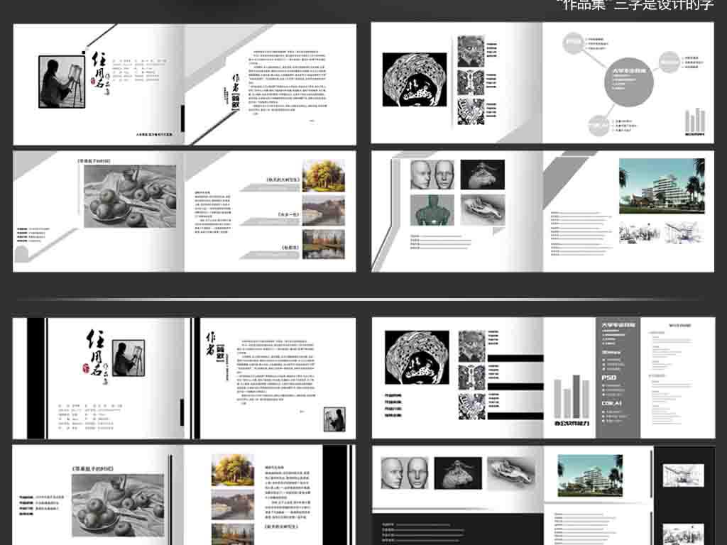 创意简洁毕业作品集设计图片