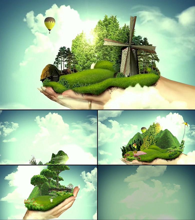 环保地球双手托起视频素材下载