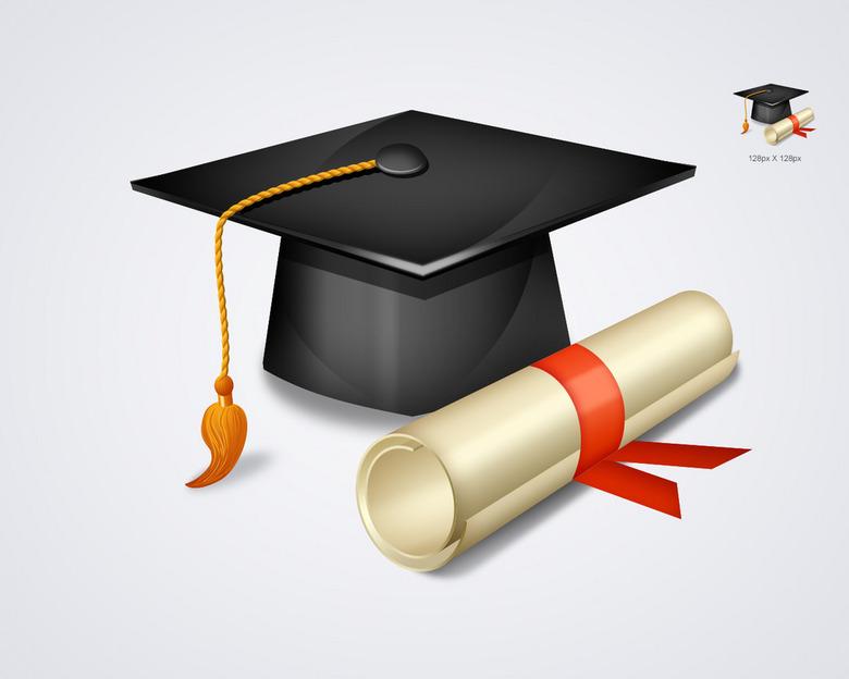 高校毕业图标学士帽高清图标