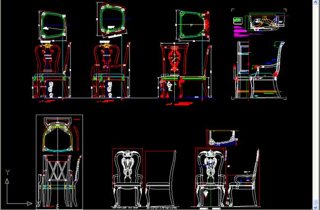 椅子cad三视图