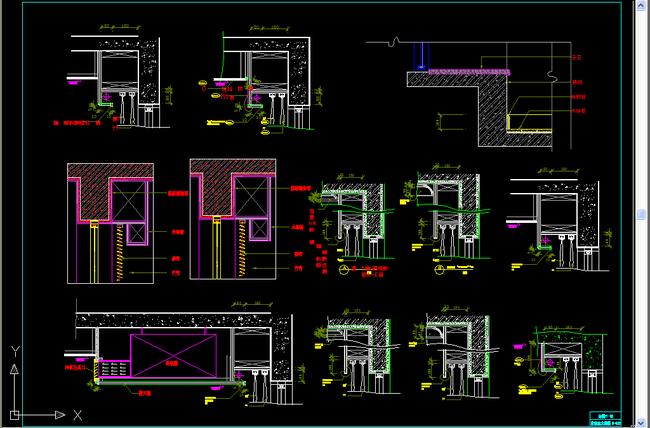 cad图库 建筑cad图纸 节点剖面图cad > 窗帘盒节点大样图设计  素材