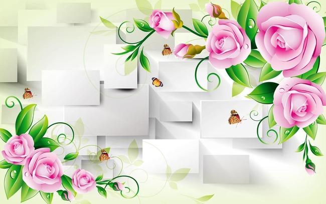 3d立体玫瑰方框蝴蝶电视背景墙图片设计素材_高清psd