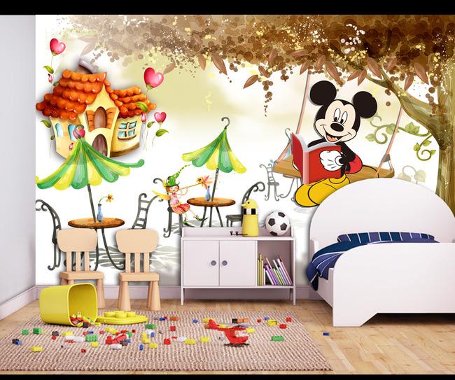 背景墙 电视背景墙 客厅电视背景墙 > 高清手绘大树风景儿童房卡通