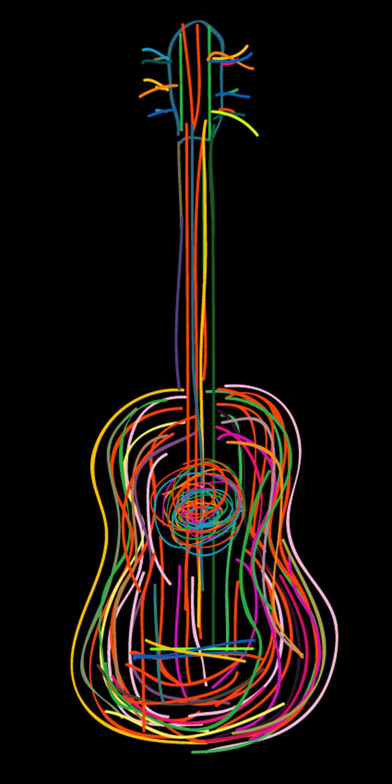 免扣元素 人物形象 动漫人物 > 手绘荧光吉他t恤衫图片矢量图  版权