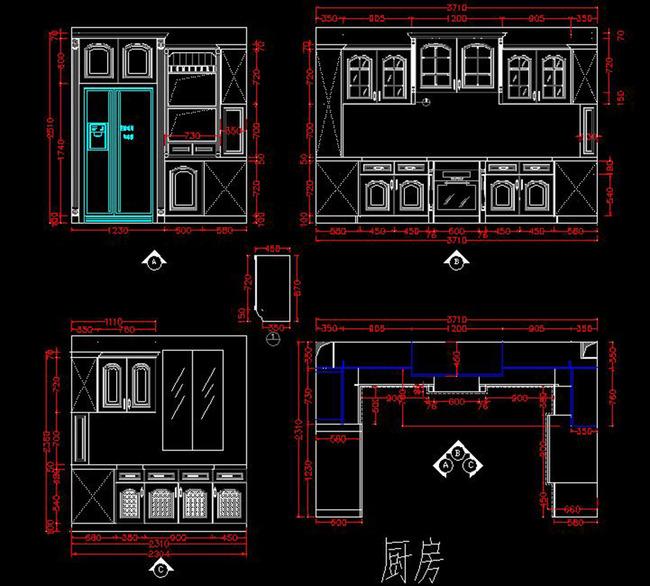 家具设计图纸cad衣柜橱柜酒柜立面图