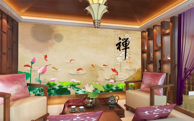 国画禅中式电视背景墙