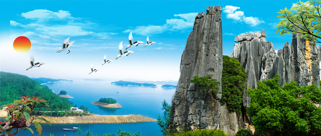 山水画风景画山水风景图大海电视背景墙