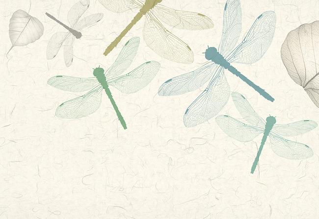 抽象手绘树叶脉蜻蜓电视背景墙