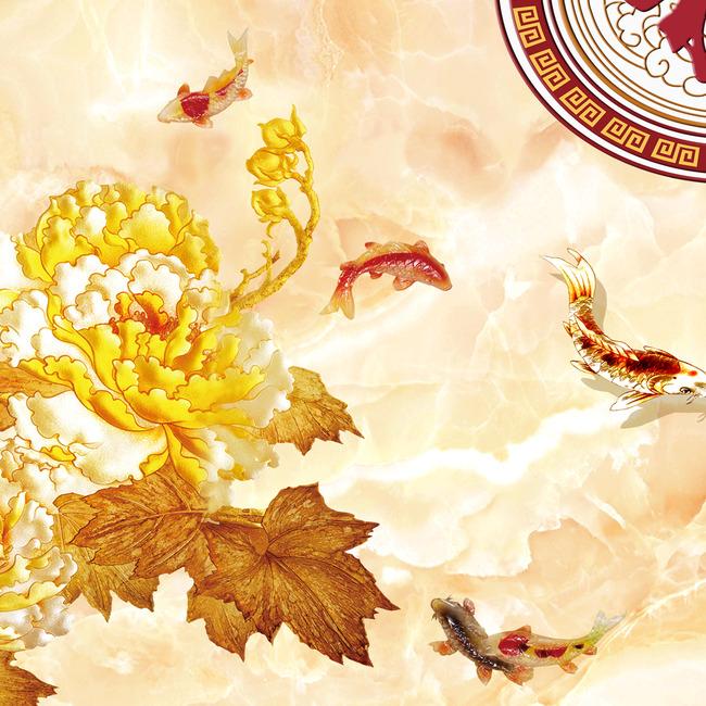 彩雕牡丹福字背景墙模板