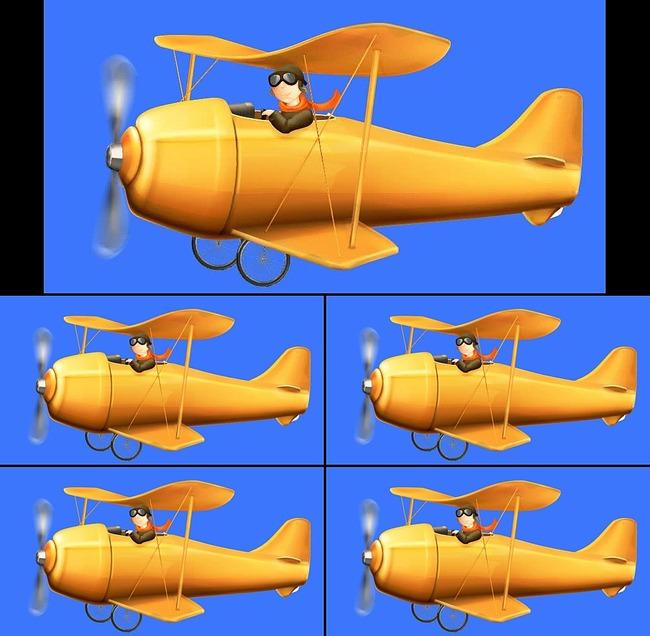 儿童卡通飞机飞行蓝屏