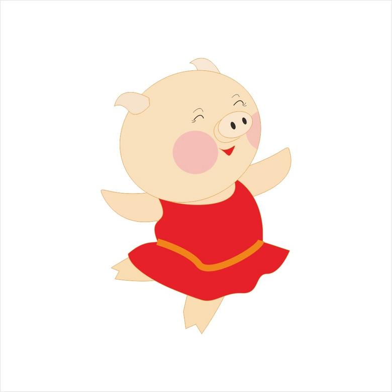 手绘卡通猪