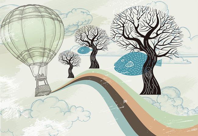 抽象大树手绘树林彩虹热气球电视背景墙